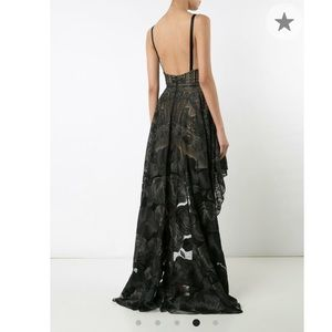 Marchesa Notte high-low rose lace dress